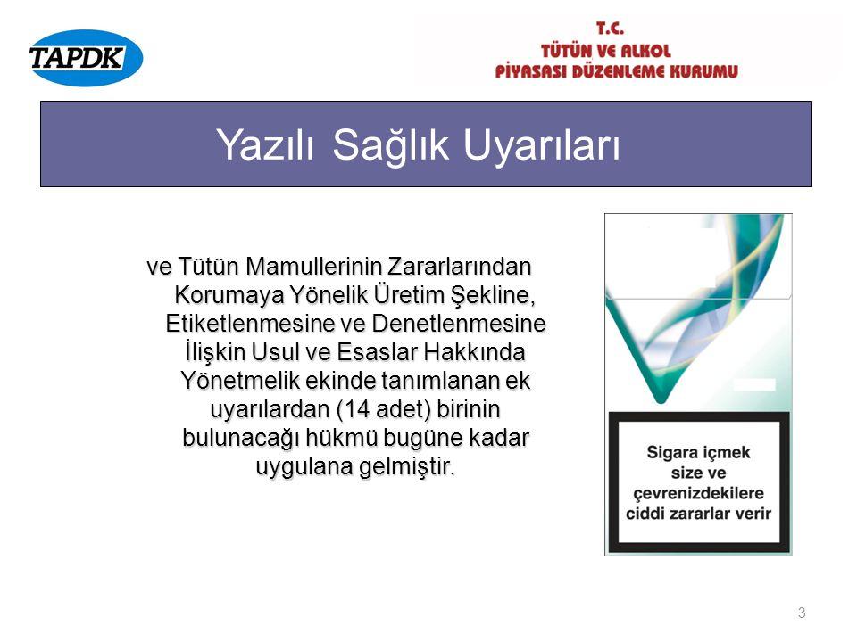 3 Yazılı Sağlık Uyarıları ve Tütün Mamullerinin Zararlarından Korumaya Yönelik Üretim Şekline, Etiketlenmesine ve Denetlenmesine İlişkin Usul ve Esasl