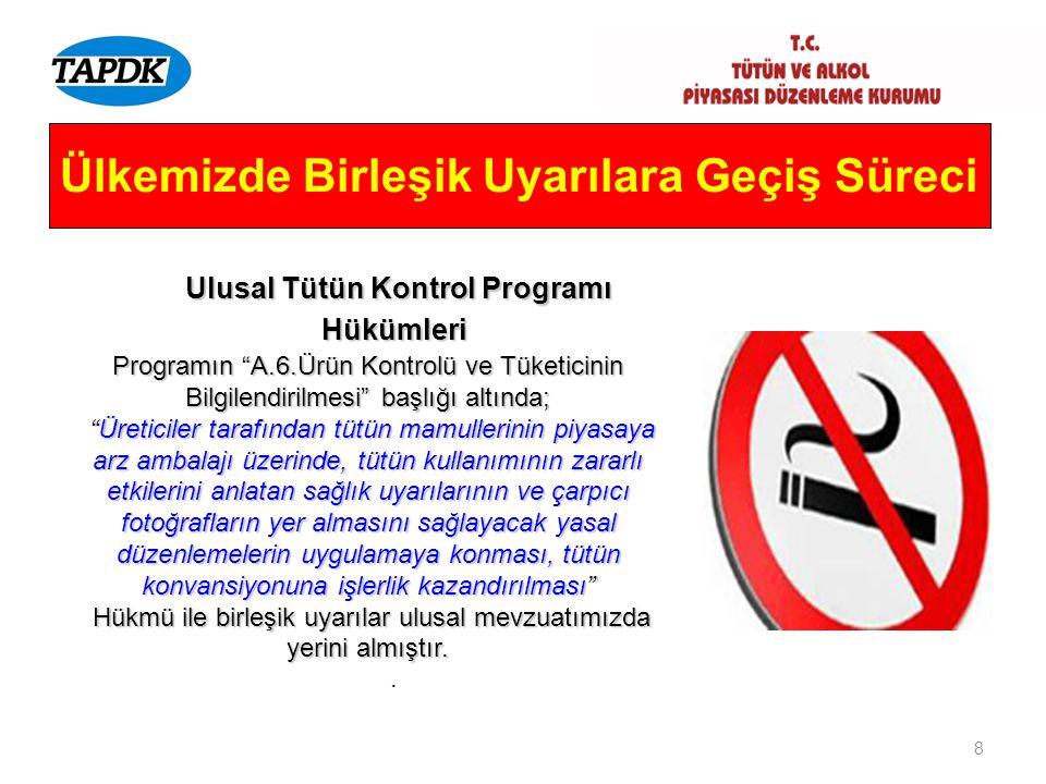 """8 Ülkemizde Birleşik Uyarılara Geçiş Süreci Ulusal Tütün Kontrol Programı Hükümleri Ulusal Tütün Kontrol Programı Hükümleri Programın """"A.6.Ürün Kontro"""