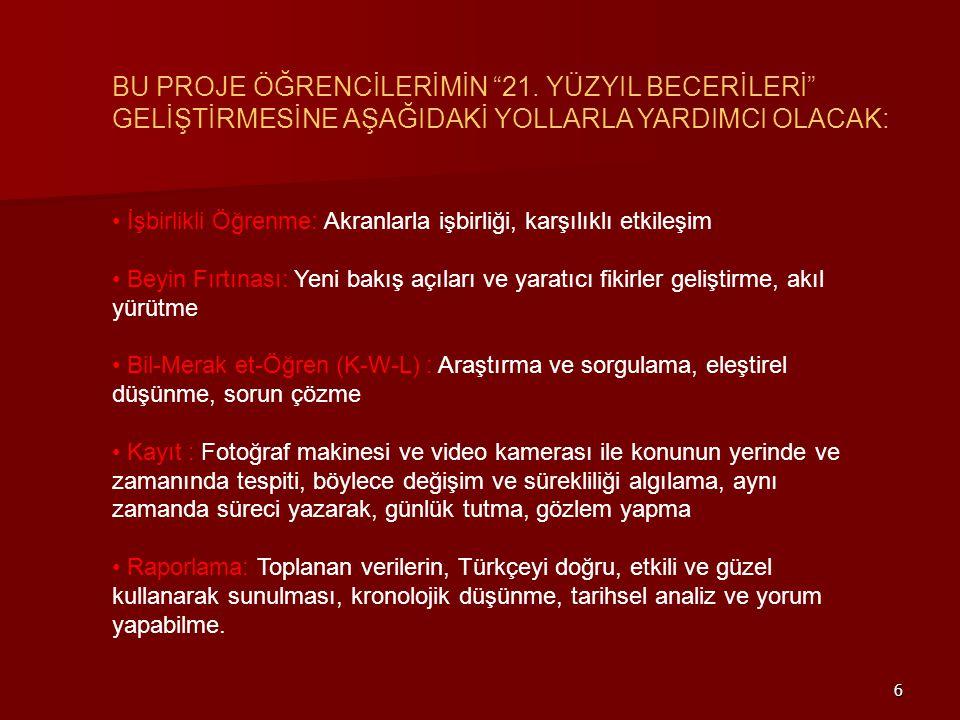 """6 BU PROJE ÖĞRENCİLERİMİN """"21. YÜZYIL BECERİLERİ"""" GELİŞTİRMESİNE AŞAĞIDAKİ YOLLARLA YARDIMCI OLACAK: • İşbirlikli Öğrenme: Akranlarla işbirliği, karşı"""