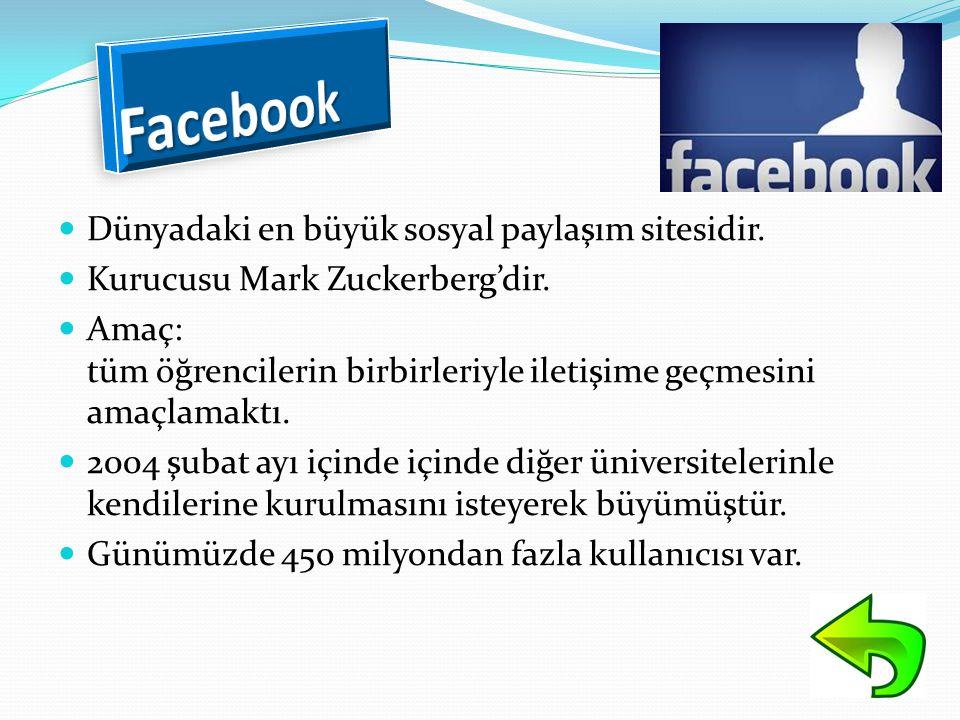  Dünyadaki en büyük sosyal paylaşım sitesidir.  Kurucusu Mark Zuckerberg'dir.  Amaç: tüm öğrencilerin birbirleriyle iletişime geçmesini amaçlamaktı