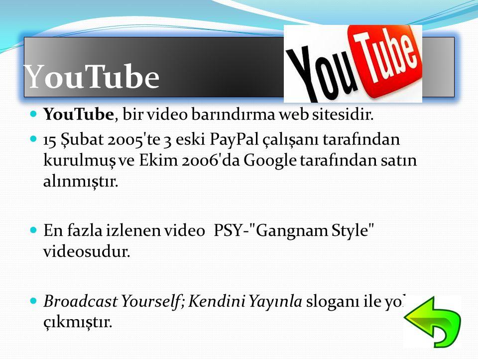 YouTube  YouTube, bir video barındırma web sitesidir.  15 Şubat 2005'te 3 eski PayPal çalışanı tarafından kurulmuş ve Ekim 2006'da Google tarafından