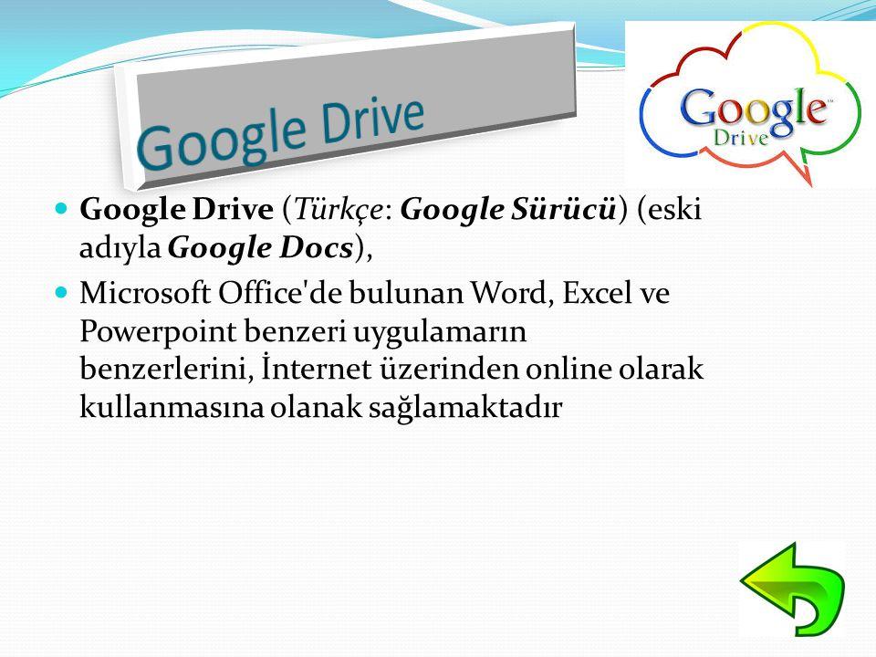  Google Drive (Türkçe: Google Sürücü) (eski adıyla Google Docs),  Microsoft Office'de bulunan Word, Excel ve Powerpoint benzeri uygulamarın benzerle