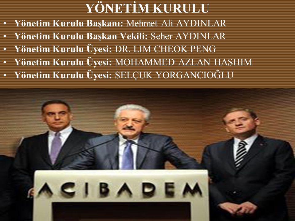 YÖNETİM KURULU •Yönetim Kurulu Başkanı: Mehmet Ali AYDINLAR •Yönetim Kurulu Başkan Vekili: Seher AYDINLAR •Yönetim Kurulu Üyesi: DR.