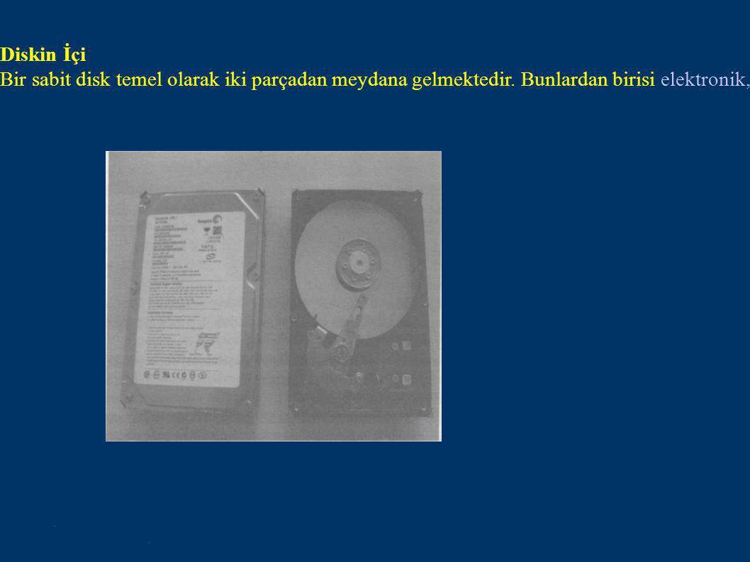 Diskin İçi Bir sabit disk temel olarak iki parçadan meydana gelmektedir.