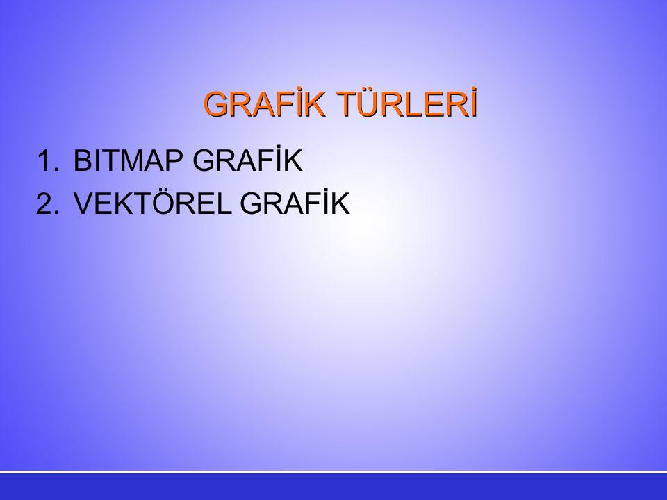 GRAFİK TÜRLERİ 1.BITMAP GRAFİK 2.VEKTÖREL GRAFİK
