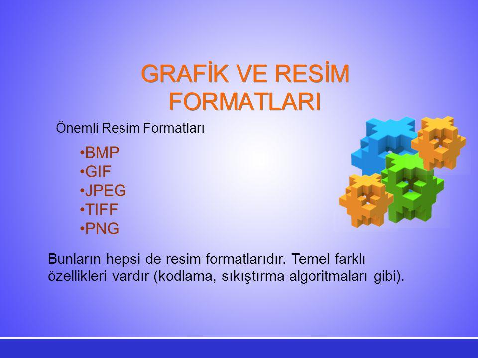 GRAFİK VE RESİM FORMATLARI Bunların hepsi de resim formatlarıdır. Temel farklı özellikleri vardır (kodlama, sıkıştırma algoritmaları gibi). Önemli Res