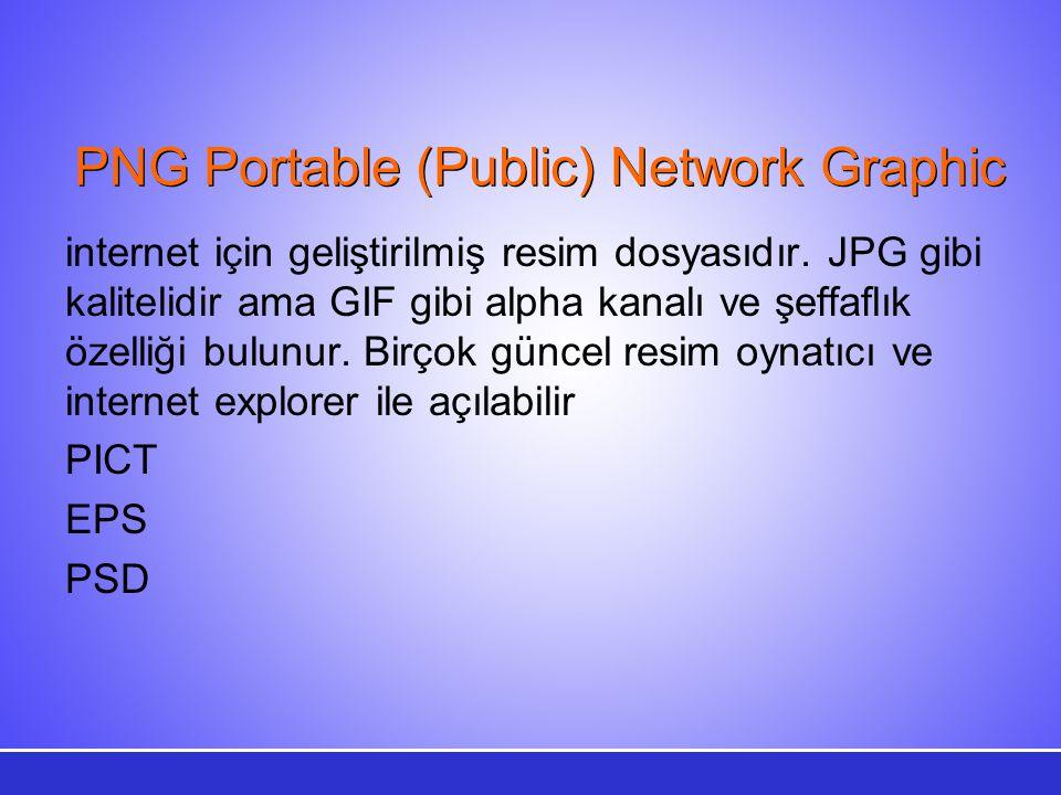 PNG Portable (Public) Network Graphic internet için geliştirilmiş resim dosyasıdır. JPG gibi kalitelidir ama GIF gibi alpha kanalı ve şeffaflık özelli