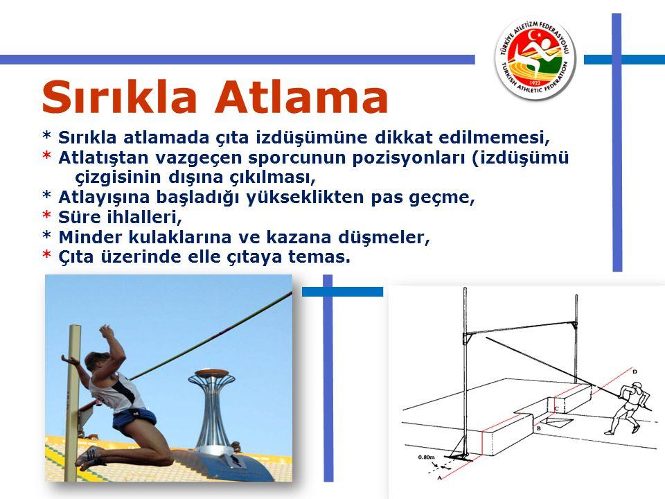 Sırıkla Atlama * Sırıkla atlamada çıta izdüşümüne dikkat edilmemesi, * Atlatıştan vazgeçen sporcunun pozisyonları (izdüşümü çizgisinin dışına çıkılmas