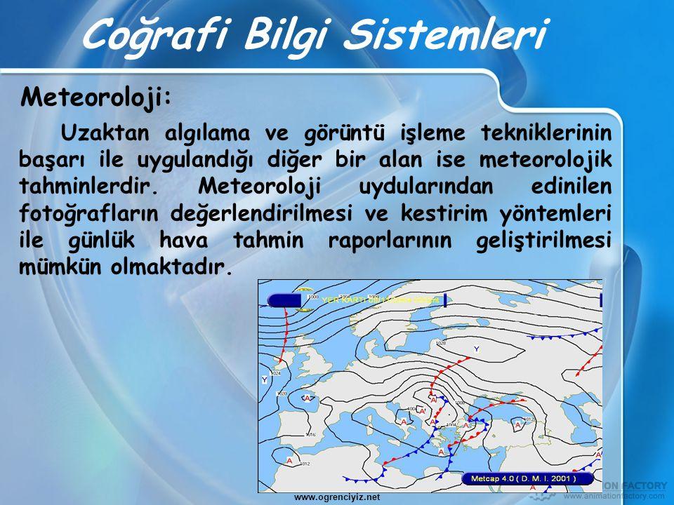 Coğrafi Bilgi Sistemleri Uzaktan algılama ve görüntü işleme tekniklerinin başarı ile uygulandığı diğer bir alan ise meteorolojik tahminlerdir. Meteoro