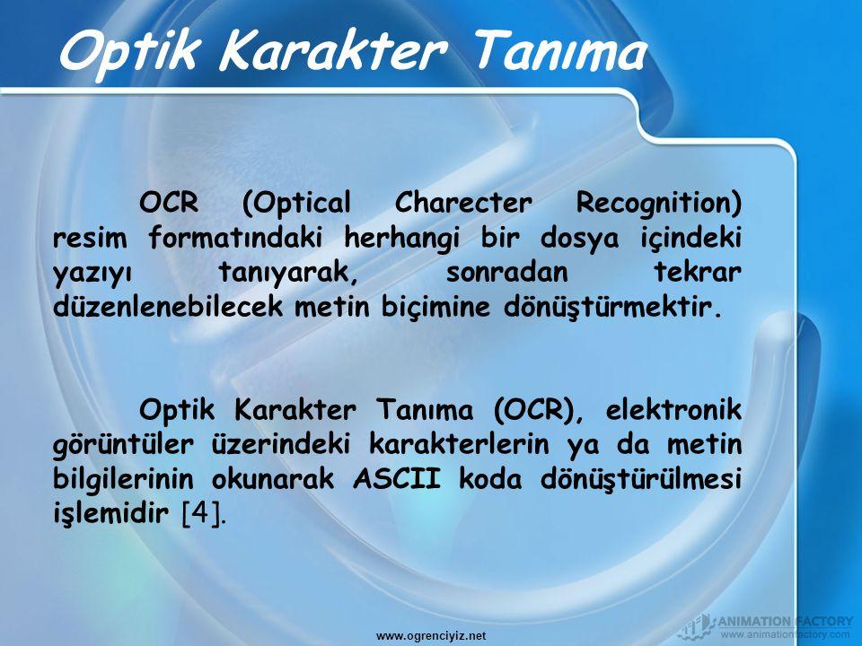 Optik Karakter Tanıma OCR (Optical Charecter Recognition) resim formatındaki herhangi bir dosya içindeki yazıyı tanıyarak, sonradan tekrar düzenlenebi