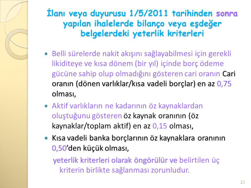 İlanı veya duyurusu 1/5/2011 tarihinden sonra yapılan ihalelerde bilanço veya eşdeğer belgelerdeki yeterlik kriterleri Cari oranın (dönen varlıklar/kı