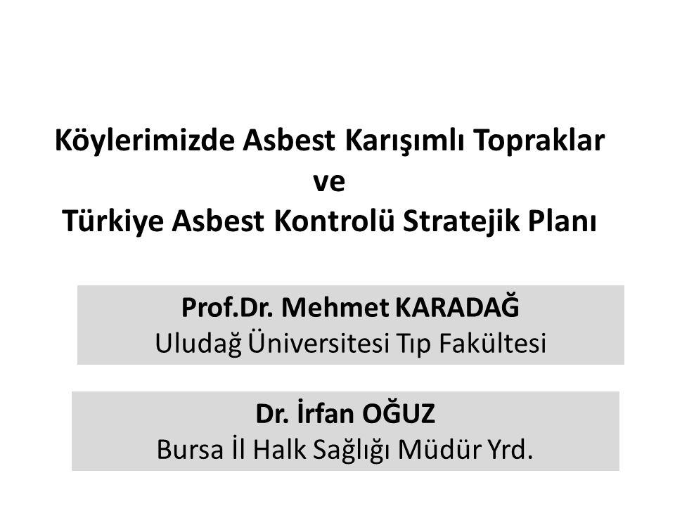 Köylerimizde Asbest Karışımlı Topraklar ve Türkiye Asbest Kontrolü Stratejik Planı Prof.Dr. Mehmet KARADAĞ Uludağ Üniversitesi Tıp Fakültesi Dr. İrfan
