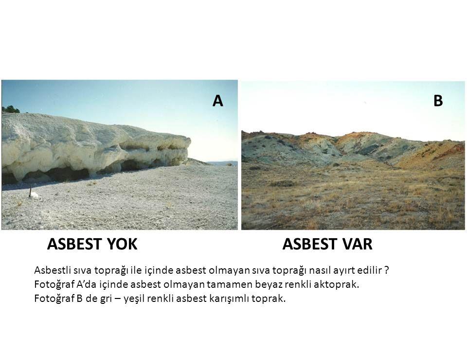 AB ASBEST YOKASBEST VAR Asbestli sıva toprağı ile içinde asbest olmayan sıva toprağı nasıl ayırt edilir ? Fotoğraf A'da içinde asbest olmayan tamamen