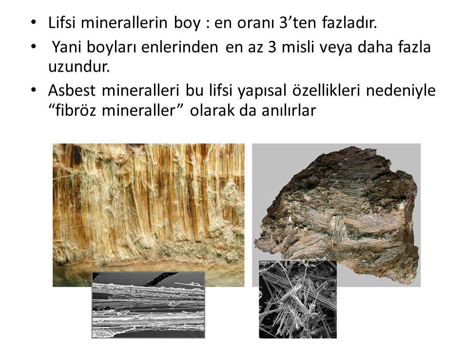 • Lifsi minerallerin boy : en oranı 3'ten fazladır. • Yani boyları enlerinden en az 3 misli veya daha fazla uzundur. • Asbest mineralleri bu lifsi yap