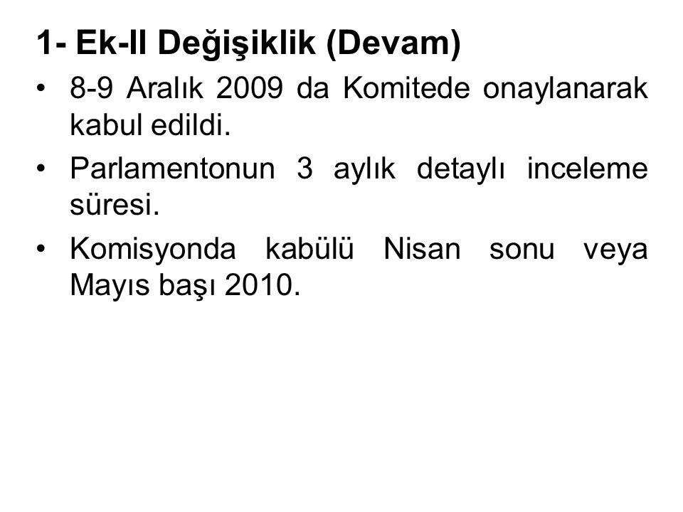 1- Ek-II Değişiklik (Devam) •8-9 Aralık 2009 da Komitede onaylanarak kabul edildi.