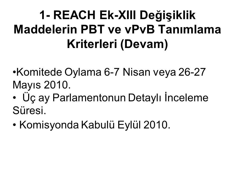 1- REACH Ek-XIII Değişiklik Maddelerin PBT ve vPvB Tanımlama Kriterleri (Devam) •Komitede Oylama 6-7 Nisan veya 26-27 Mayıs 2010.