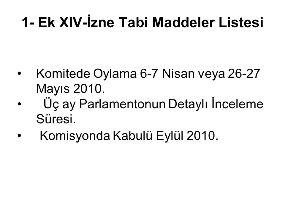 1- Ek XIV-İzne Tabi Maddeler Listesi •Komitede Oylama 6-7 Nisan veya 26-27 Mayıs 2010.