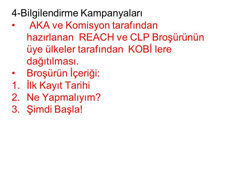 4-Bilgilendirme Kampanyaları • AKA ve Komisyon tarafından hazırlanan REACH ve CLP Broşürünün üye ülkeler tarafından KOBİ lere dağıtılması.
