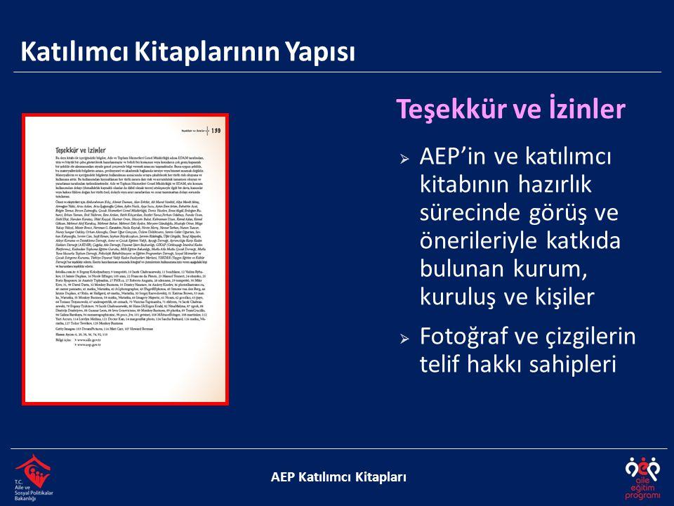 Katılımcı Kitaplarının Yapısı AEP Katılımcı Kitapları Teşekkür ve İzinler  AEP'in ve katılımcı kitabının hazırlık sürecinde görüş ve önerileriyle katkıda bulunan kurum, kuruluş ve kişiler  Fotoğraf ve çizgilerin telif hakkı sahipleri