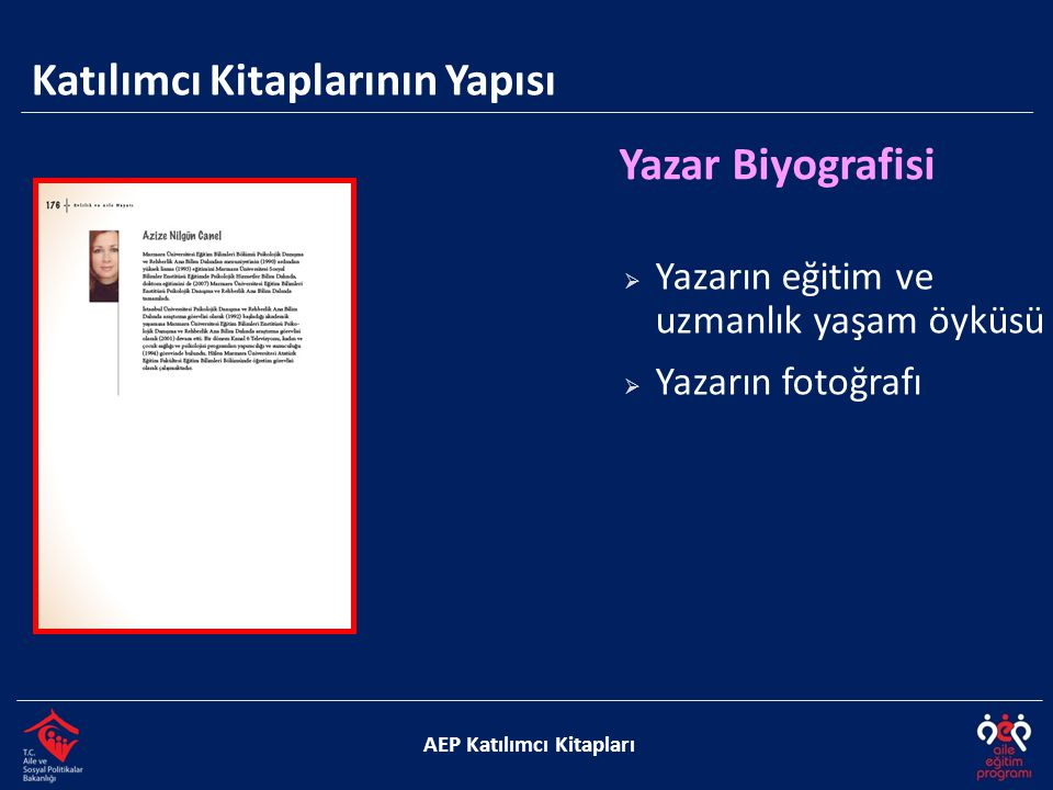 Katılımcı Kitaplarının Yapısı AEP Katılımcı Kitapları Yazar Biyografisi  Yazarın eğitim ve uzmanlık yaşam öyküsü  Yazarın fotoğrafı