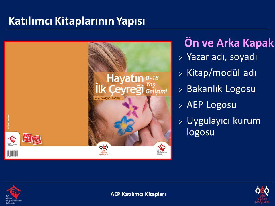 Katılımcı Kitaplarının Yapısı AEP Katılımcı Kitapları Ön ve Arka Kapak  Yazar adı, soyadı  Kitap/modül adı  Bakanlık Logosu  AEP Logosu  Uygulayıcı kurum logosu