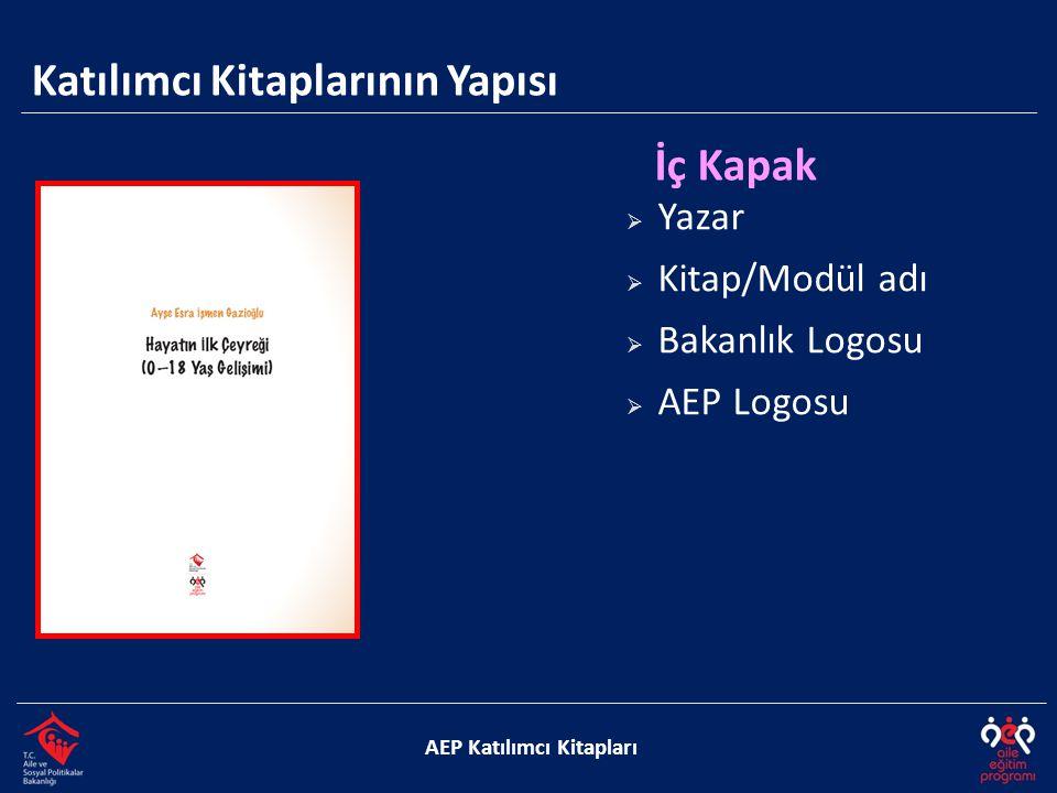Katılımcı Kitaplarının Yapısı AEP Katılımcı Kitapları Jenerik  Kitabın hazırlanmasında emeği geçenler  Kitap künye bilgileri  Logolar  Kullanılan sembollerin açıklamaları  İçindekiler