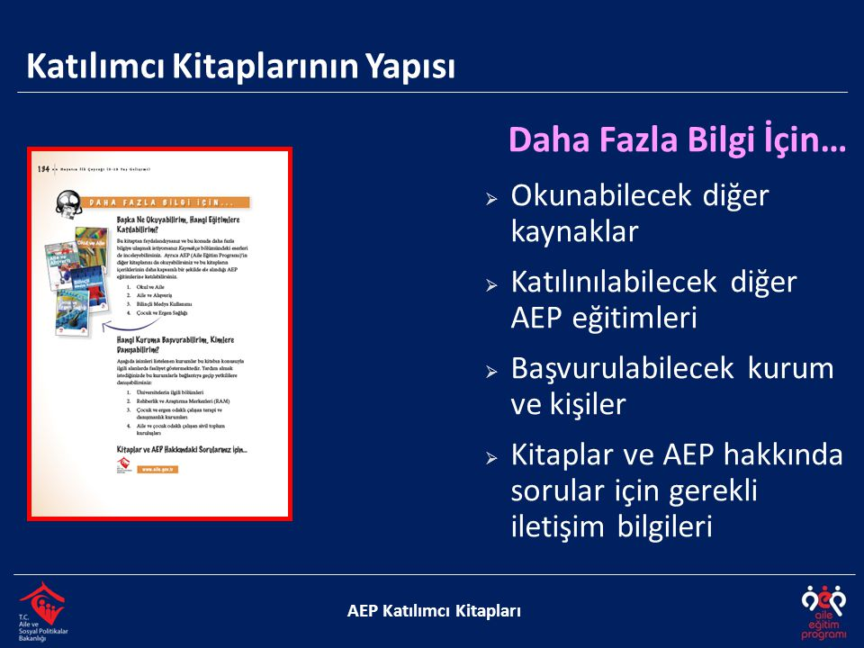 Katılımcı Kitaplarının Yapısı AEP Katılımcı Kitapları Daha Fazla Bilgi İçin…  Okunabilecek diğer kaynaklar  Katılınılabilecek diğer AEP eğitimleri 