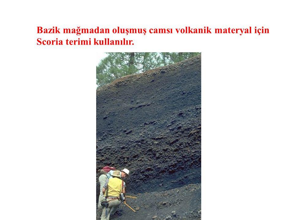 Bazik mağmadan oluşmuş camsı volkanik materyal için Scoria terimi kullanılır.