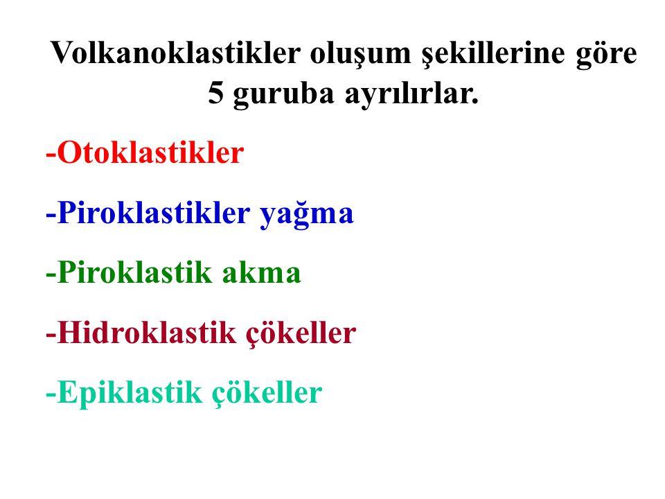 Volkanoklastikler oluşum şekillerine göre 5 guruba ayrılırlar. -Otoklastikler -Piroklastikler yağma -Piroklastik akma -Hidroklastik çökeller -Epiklast