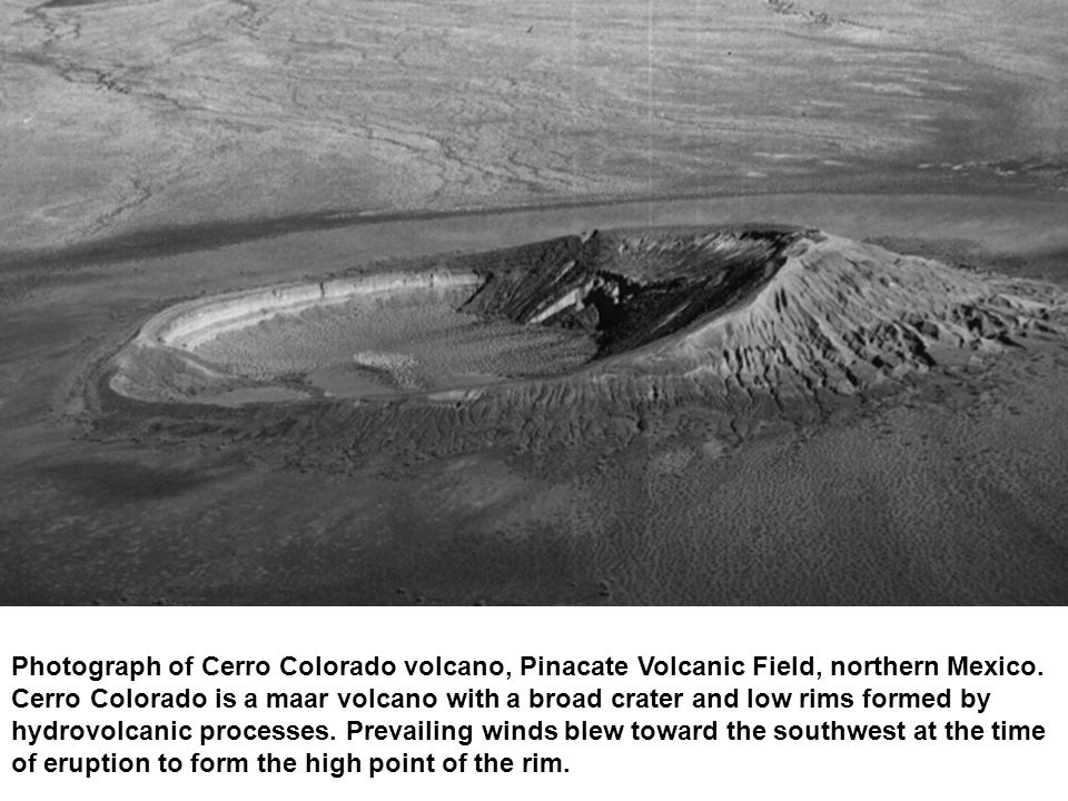 Photograph of Cerro Colorado volcano, Pinacate Volcanic Field, northern Mexico. Cerro Colorado is a maar volcano with a broad crater and low rims form
