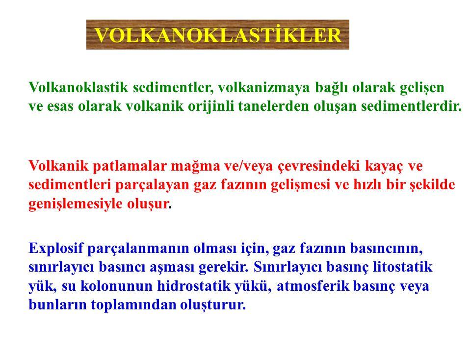 Volkanoklastik sedimentler, volkanizmaya bağlı olarak gelişen ve esas olarak volkanik orijinli tanelerden oluşan sedimentlerdir. VOLKANOKLASTİKLER Vol