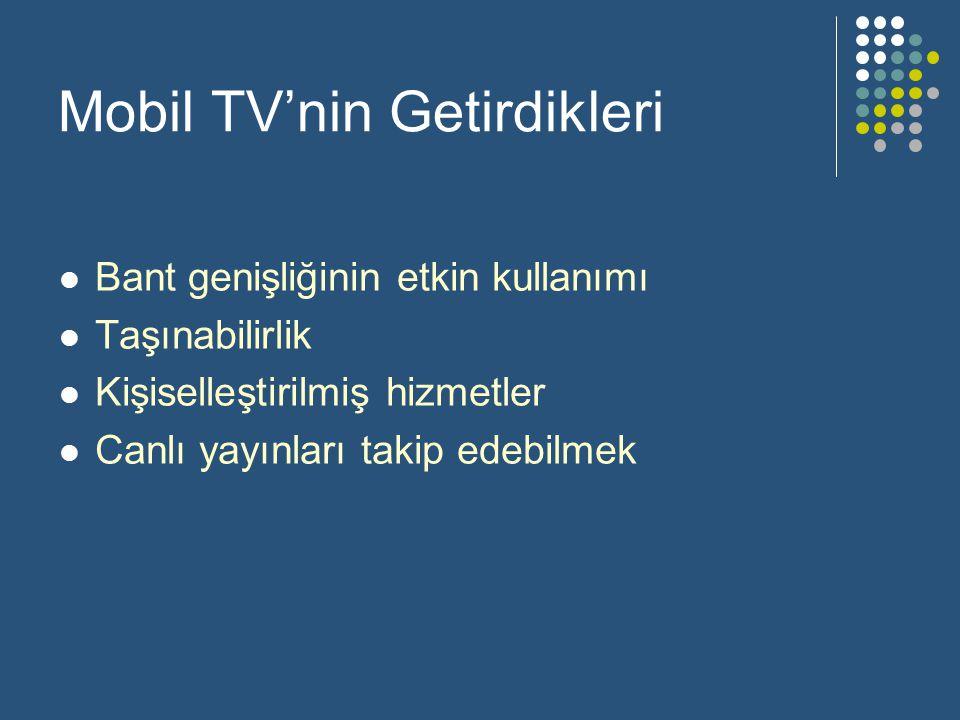 Mobil TV'nin Getirdikleri  Bant genişliğinin etkin kullanımı  Taşınabilirlik  Kişiselleştirilmiş hizmetler  Canlı yayınları takip edebilmek