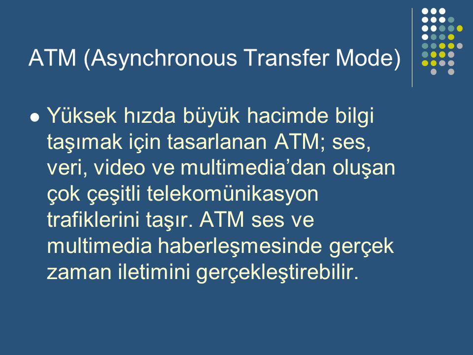 ATM (Asynchronous Transfer Mode)  Yüksek hızda büyük hacimde bilgi taşımak için tasarlanan ATM; ses, veri, video ve multimedia'dan oluşan çok çeşitli telekomünikasyon trafiklerini taşır.