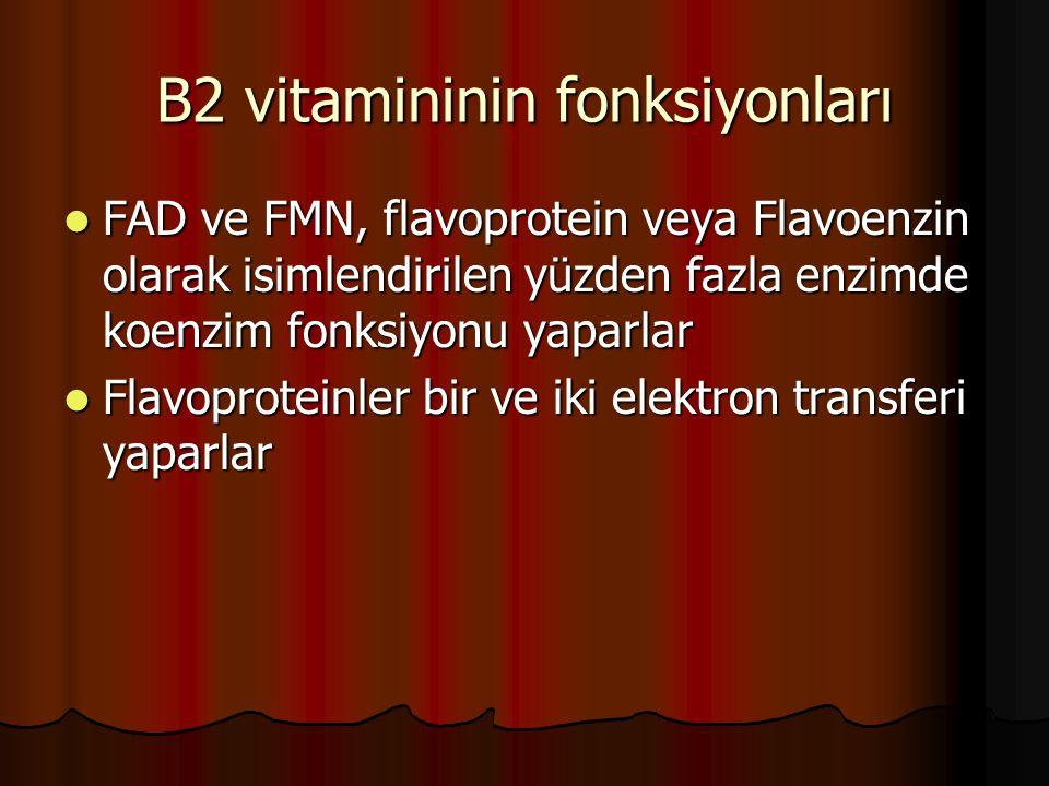 B2 vitamininin fonksiyonları  FAD ve FMN, flavoprotein veya Flavoenzin olarak isimlendirilen yüzden fazla enzimde koenzim fonksiyonu yaparlar  Flavo