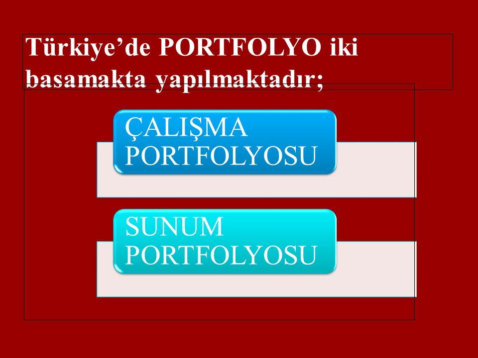 Türkiye'de PORTFOLYO iki basamakta yapılmaktadır; ÇALIŞMA PORTFOLYOSU SUNUM PORTFOLYOSU