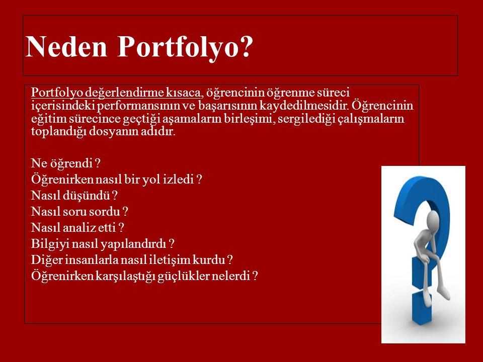 Neden Portfolyo? Portfolyo değerlendirme kısaca, öğrencinin öğrenme süreci içerisindeki performansının ve başarısının kaydedilmesidir. Öğrencinin eğit
