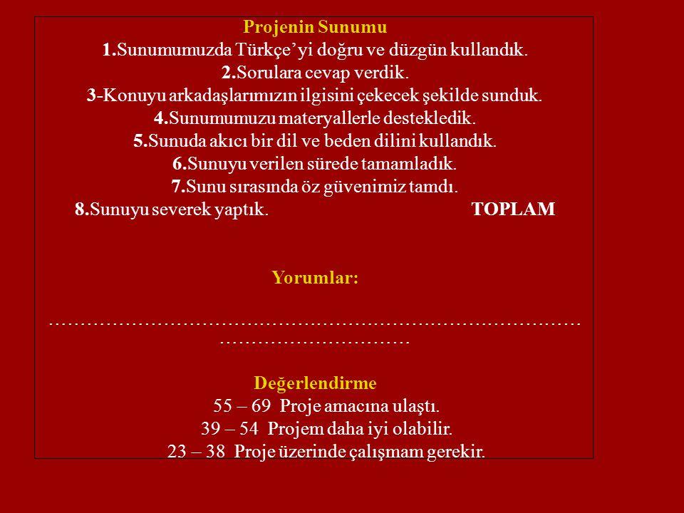 Projenin Sunumu 1.Sunumumuzda Türkçe' yi doğru ve düzgün kullandık. 2.Sorulara cevap verdik. 3-Konuyu arkadaşlarımızın ilgisini çekecek şekilde sunduk