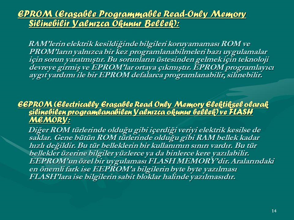 13 SRAM (Static RAM) Statik RAM elektrik olduğu sürece içinde veri bitlerini saklayan bir RAM'dir.