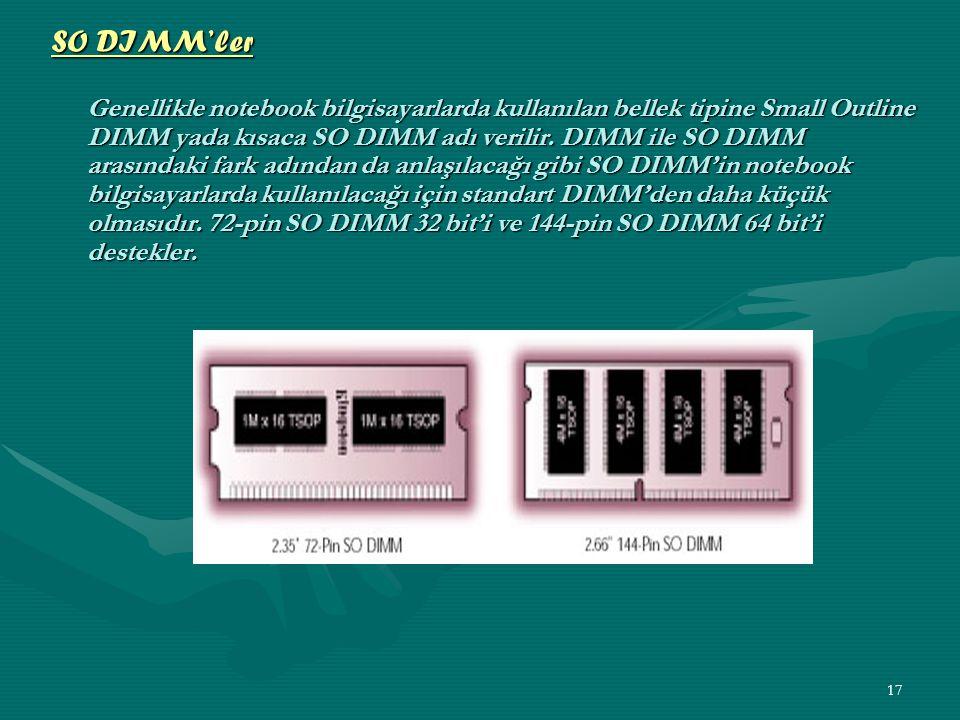 16 SIMM'ler Daha önce anlattığımız gibi SIMM, Single In-Line Memory Module tanımının kısaltmasıdır.