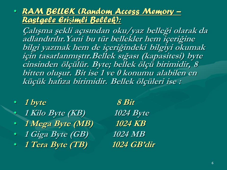 5 Bilgisayarda Bulunan Bellek Türleri Bilgisayarda bellek tipleri; ROM, RAM, PROM, EPROM, EEPROM, Flash Memory, Önbellek olarak sayılabilir.