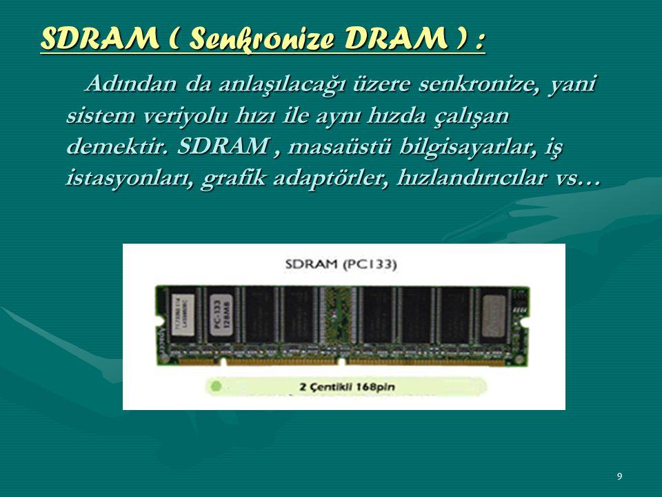 8 DRAM (Dynamic RAM) DRAM (Dynamic RAM) Günümüz kişisel bilgisayarlarında kullanılan en popüler bellektir.