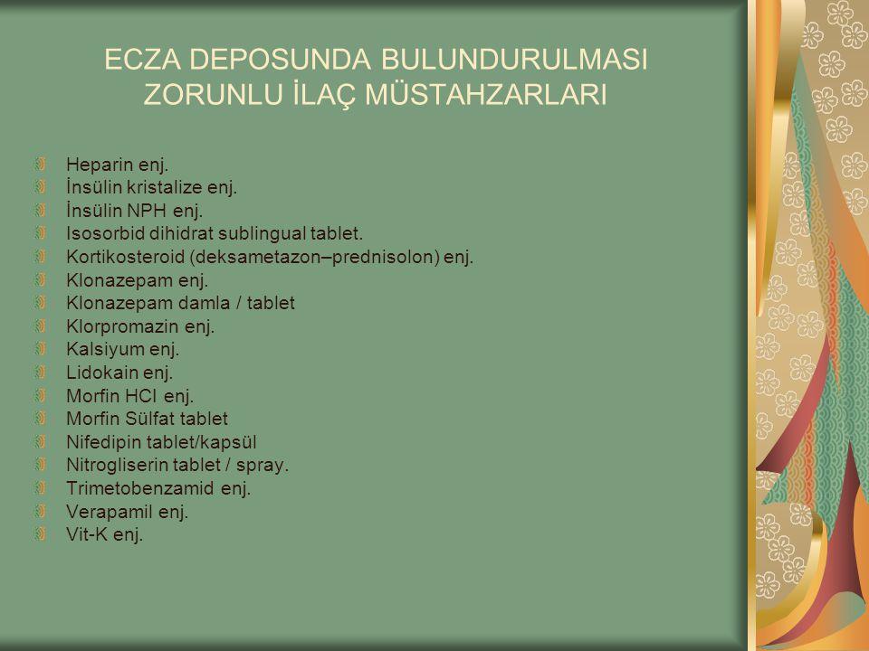 ECZA DEPOSUNDA BULUNDURULMASI ZORUNLU İLAÇ MÜSTAHZARLARI Heparin enj. İnsülin kristalize enj. İnsülin NPH enj. Isosorbid dihidrat sublingual tablet. K