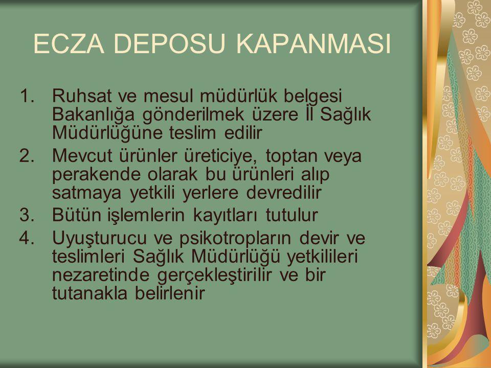 ECZA DEPOSU KAPANMASI 1.Ruhsat ve mesul müdürlük belgesi Bakanlığa gönderilmek üzere İl Sağlık Müdürlüğüne teslim edilir 2.Mevcut ürünler üreticiye, t