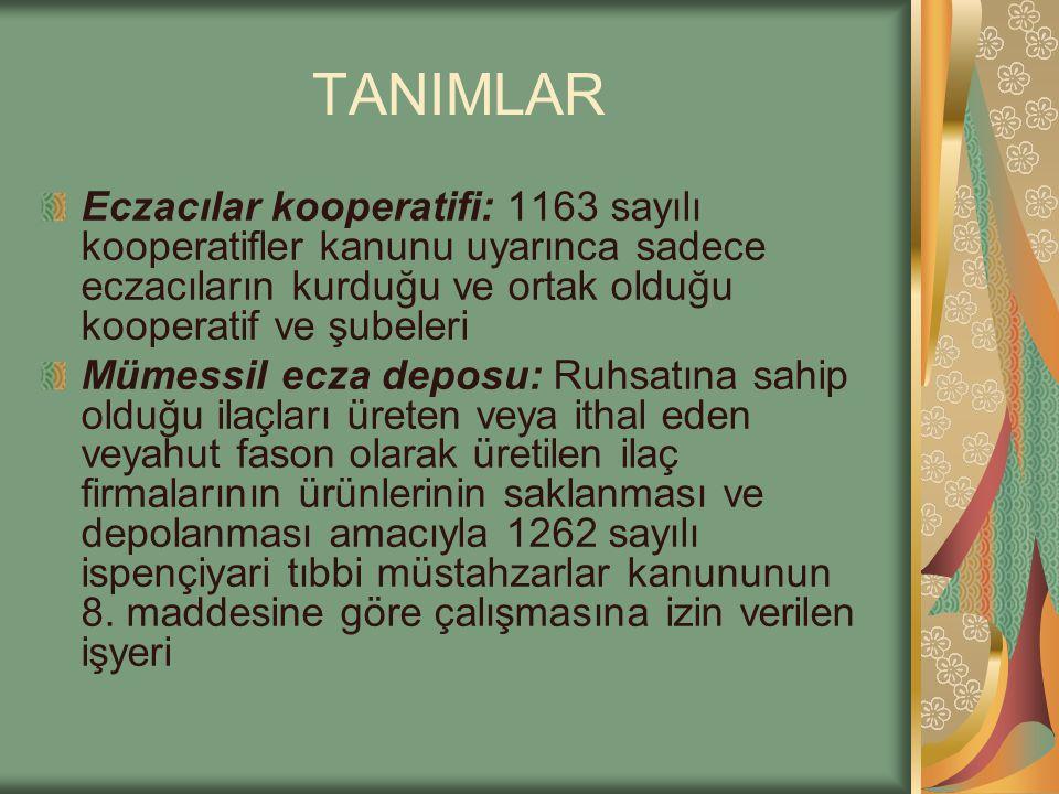 TANIMLAR Eczacılar kooperatifi: 1163 sayılı kooperatifler kanunu uyarınca sadece eczacıların kurduğu ve ortak olduğu kooperatif ve şubeleri Mümessil e
