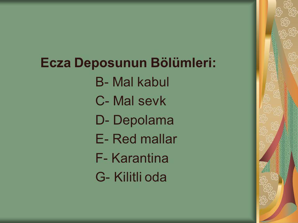 Ecza Deposunun Bölümleri: B- Mal kabul C- Mal sevk D- Depolama E- Red mallar F- Karantina G- Kilitli oda