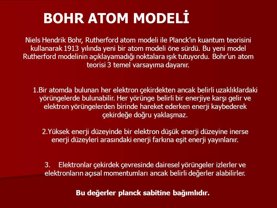 BOHR ATOM MODELİ Niels Hendrik Bohr, Rutherford atom modeli ile Planck'ın kuantum teorisini kullanarak 1913 yılında yeni bir atom modeli öne sürdü. Bu