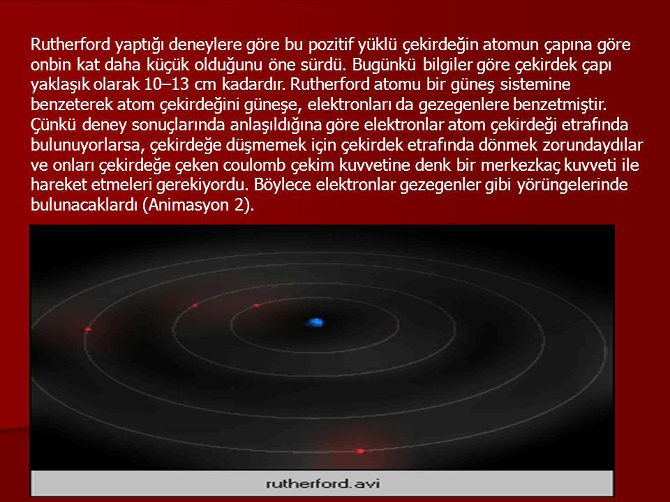 Rutherford yaptığı deneylere göre bu pozitif yüklü çekirdeğin atomun çapına göre onbin kat daha küçük olduğunu öne sürdü. Bugünkü bilgiler göre çekird