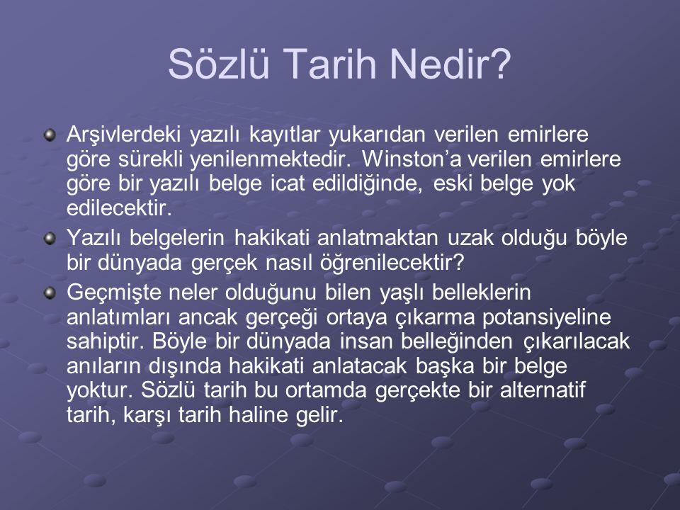 Sözlü Tarih Nedir.