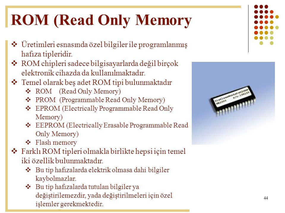 44 ROM (Read Only Memory  Üretimleri esnasında özel bilgiler ile programlanmış hafıza tipleridir.  ROM chipleri sadece bilgisayarlarda değil birçok