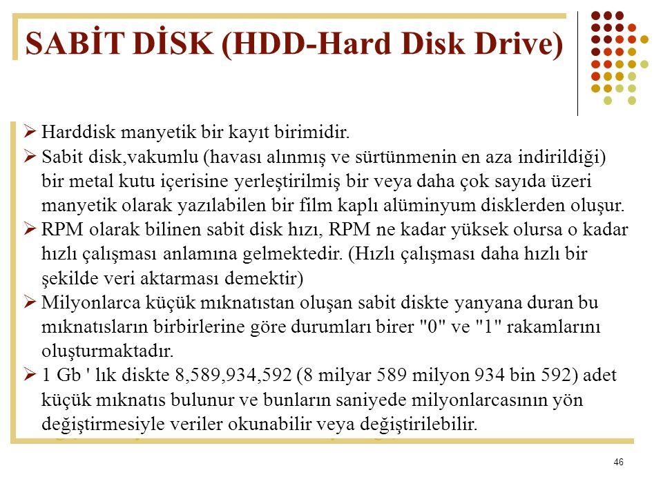 46  Harddisk manyetik bir kayıt birimidir.  Sabit disk,vakumlu (havası alınmış ve sürtünmenin en aza indirildiği) bir metal kutu içerisine yerleştir